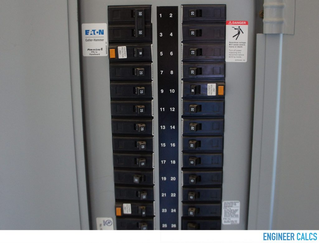 120 volt electric service panel circuit breakers
